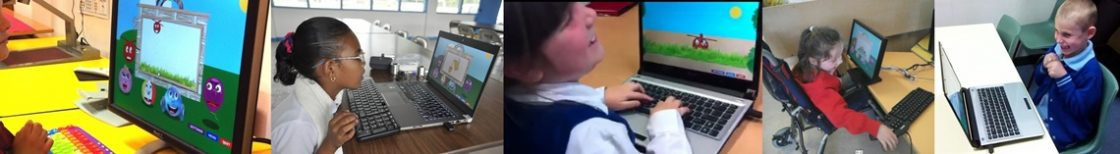 children playing with Ballyland keyboarding software