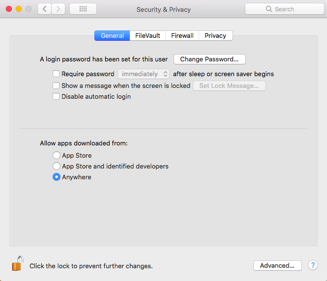 screenshot of Mac Gatekeeper