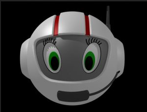 CosmoBally. She wears a white helmet with an antenna and radio microphone, and has big, green eyes.