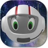 CosmoBally in white ball-shaped space suit and helmet.