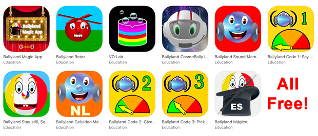 Image icons of all 9 Sonokids apps
