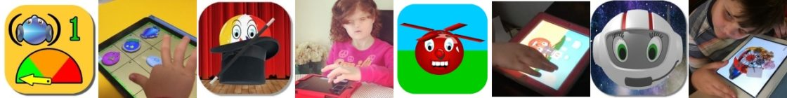 series of images showing icons of Ballyland apps and children playing with them