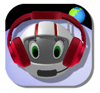 App icon Sonoplanet, CosmoBally wearing a headset, Earth in background.